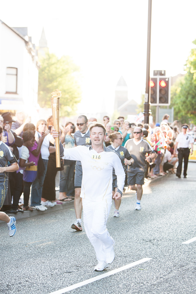 The Torchbearer and the Olympic Flame in Cardiff