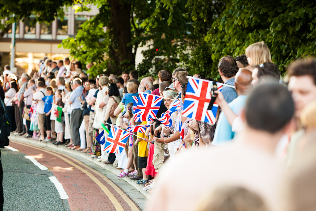 Great Britain Flags and the Olympic Torch